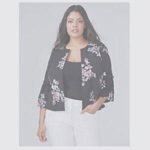 NWT Lane Bryant Floral Bell Sleeve Jacket